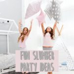 two girls jumping up in delight at a slumber party
