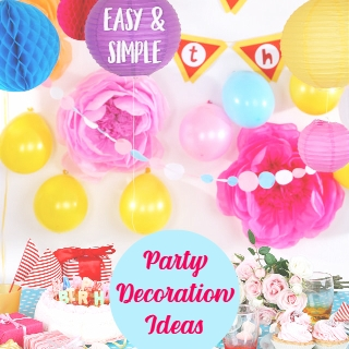Party Table pinks balloons, yellows balloons and party food