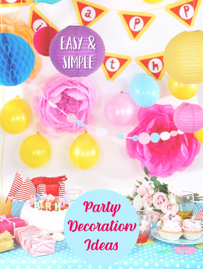 Party Table with cakes and presents and simple party decorations
