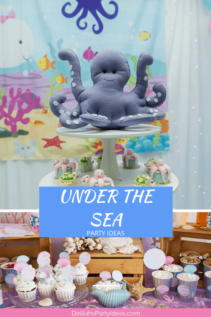 Under The Sea Party Table and cupcakes