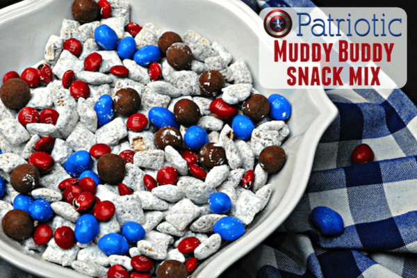 white bowl with patriotic snack mix in it, red, white and blue in color