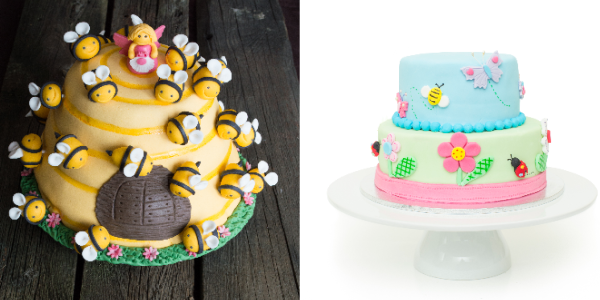 2 Honey Bee Cakes one is yellow with lots of fondant bees on it the other is pastel colors, blue, green and pInk with flowers and a honey bee