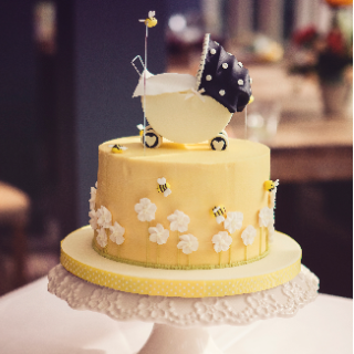 Bee Gender Reveal Baby Shower Cake