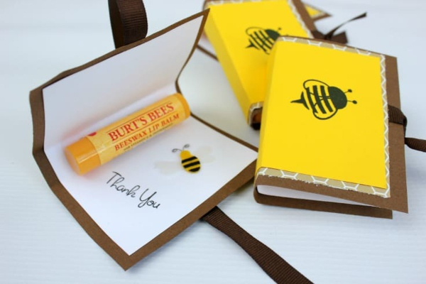 DIY Bee Lip Balm folder, with Burts Bees lip Balm and a Thank you note