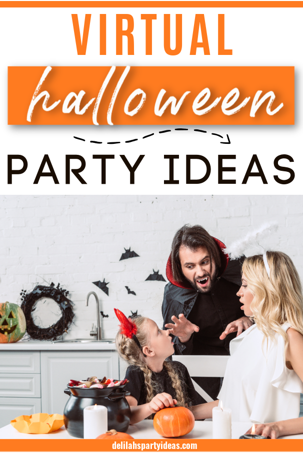 Virtual Halloween party Ideas Mother, Father  and daughter dressed in Halloween Costumes at home