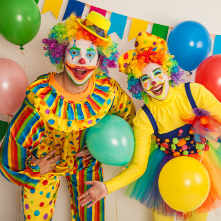 Two clowns all ready for a kids party