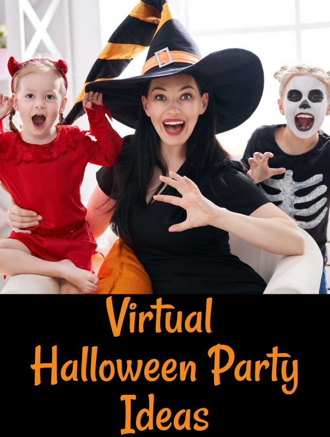 Virtual Halloween party Ideas, Mother and two children dressed in Halloween Costumes at home