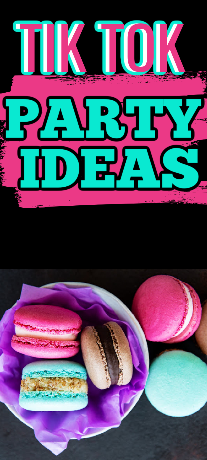 Pinterest pin black, pink and aqua with writing overlay Tik Tok Party Ideas