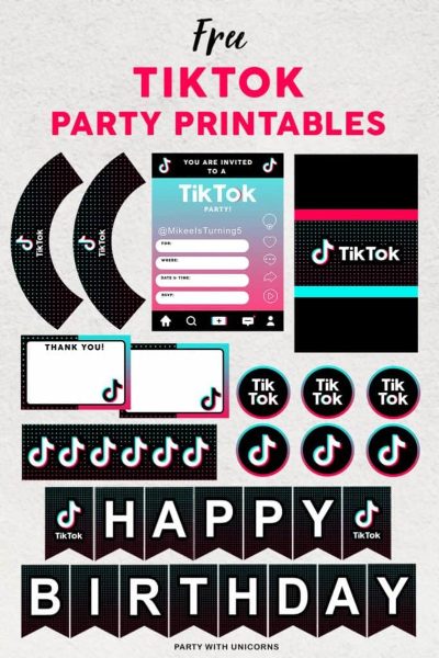 Tik Tok free party printables