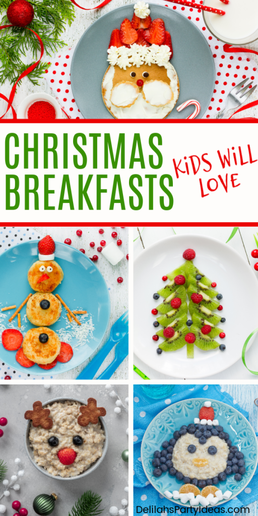 Christmas Breakfasts kids will love pin image collage of breakfasts
