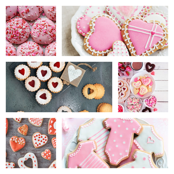 Collage of pink and red cookies