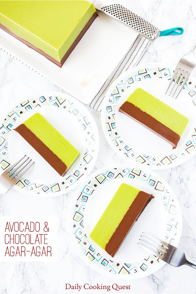 Avocado and Chocolate Agar-Agar dessert on plates