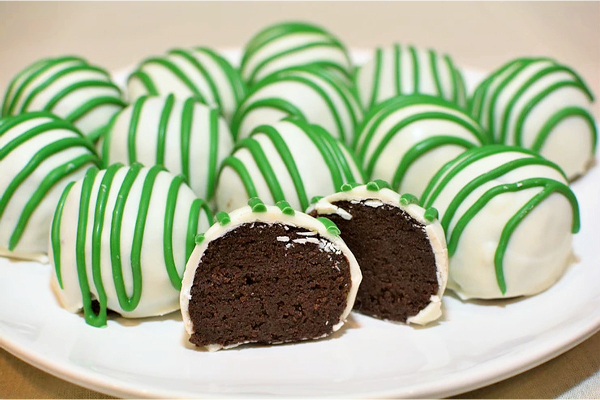 Irish cake balls on a plate