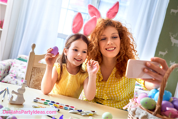 Mom and Daughter with Easter Ears on