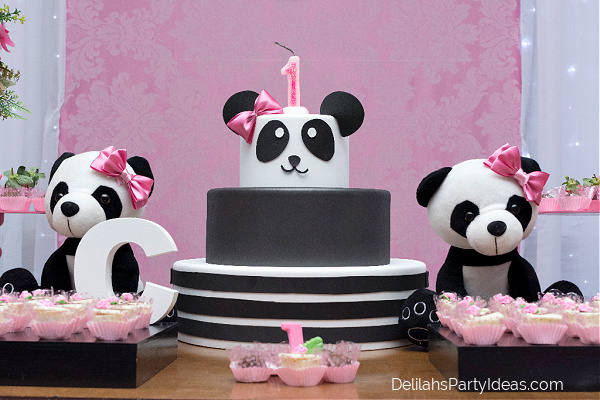 Table of sweets and Panda birthday cake