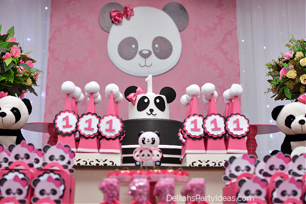 Pink Panda 1st Birthday party table