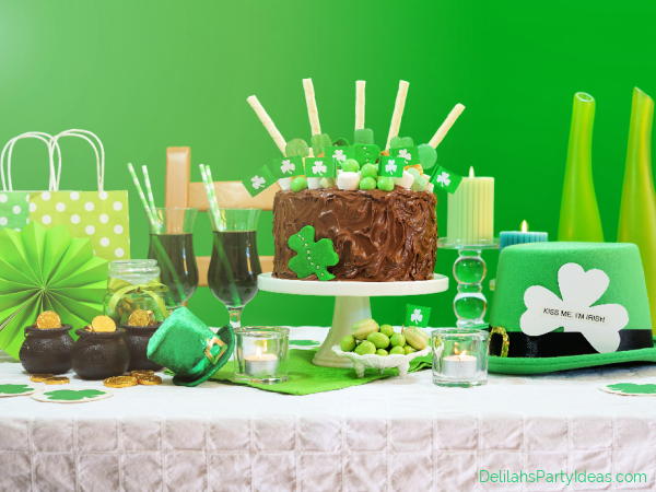 St Patricks Day Party Table with Cake and sweets