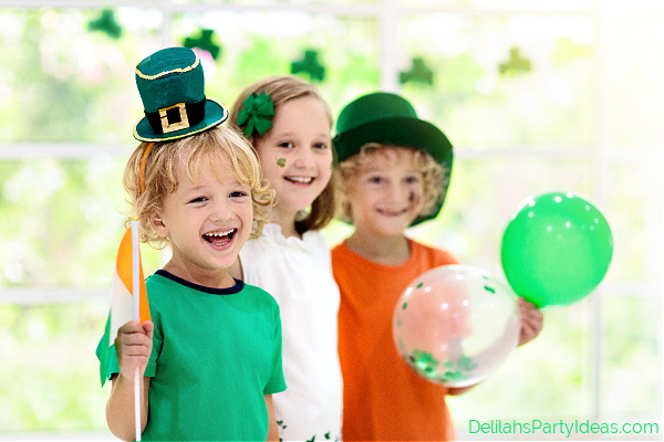 Kids at a St Patricks Day Party wearing green