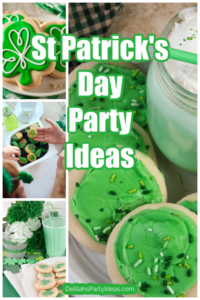 St Patrick's Day Theme Party Ideas collage of cookies