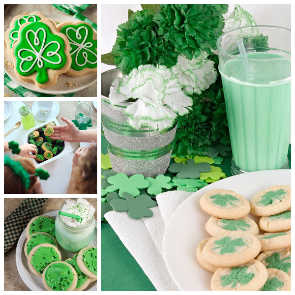 Collage of green St Patrick's Day cookies