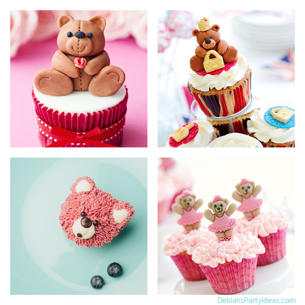 Collage of 4 different Teddy Bear Cupcakes