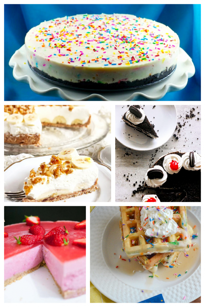 Collage of no bake birthday cakes