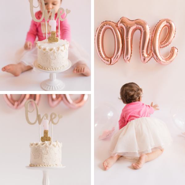 First Birthday Party Decorations and cake, little girl in tutu