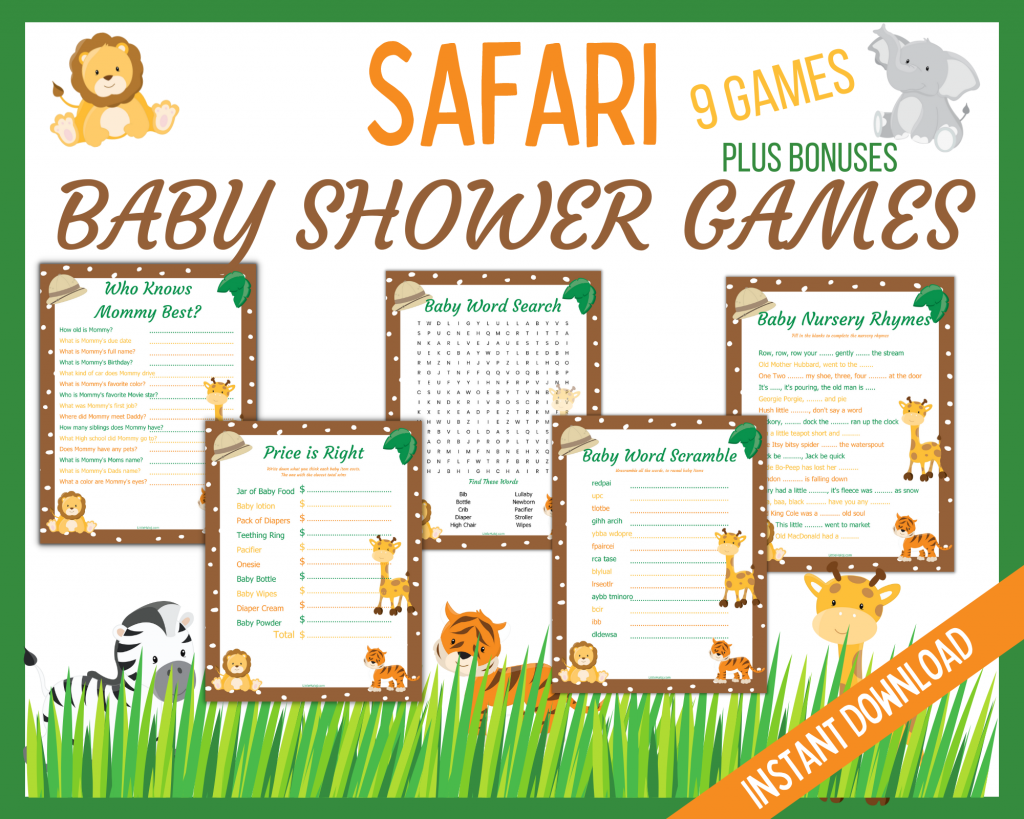 Safari baby Shower Party Games