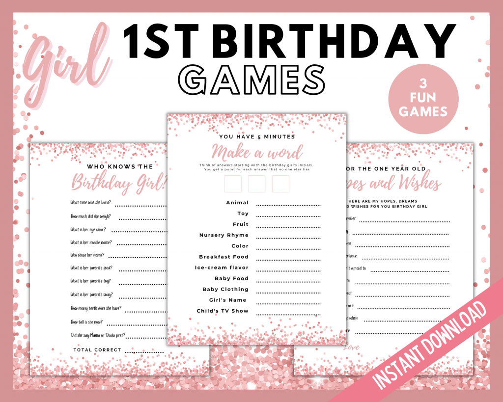 First Birthday Printable Games
