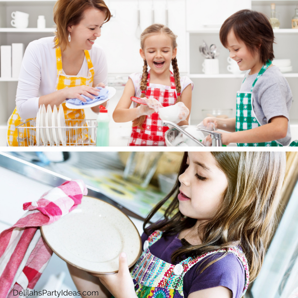 Kids doing dishes at Thanksgiving party